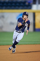 New Hampshire Fisher Cats second baseman Christian Lopes (9) running the bases during a game against the Harrisburg Senators on June 2, 2016 at FNB Field in Harrisburg, Pennsylvania.  New Hampshire defeated Harrisburg 2-1.  (Mike Janes/Four Seam Images)