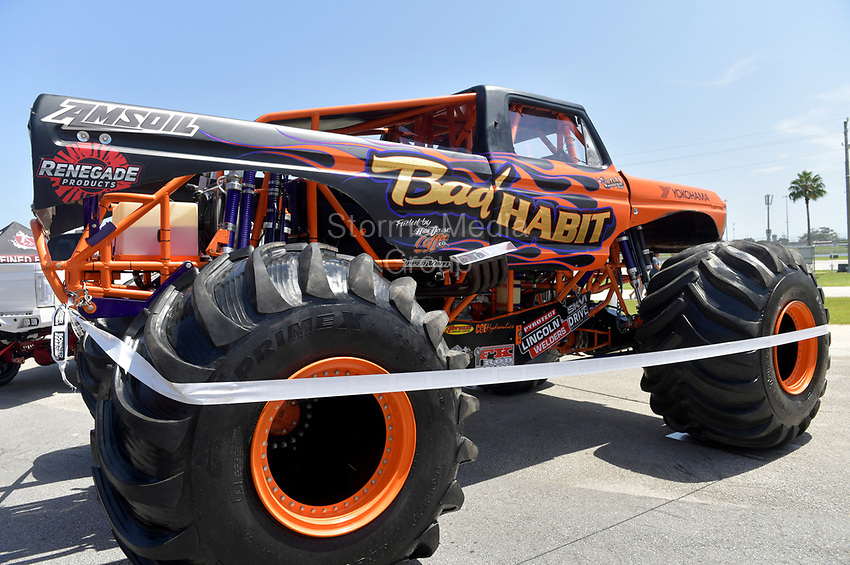 DAYTONA BEACH, FL - SEPTEMBER 05: World Record Holder Joe Sylvester (Bad Habit Monster Truck sets a new world record, jumps 237-ft, 6-inches) at the 2020 Daytona Truck Meet which is The LARGEST truck show in the world! PRESENTED BY AMERICAN FORCE WHEELS with over 35,000 spectators, 100s of vendors, burn out pit, and live entertainment. Trucks are all the rage with Celebrities like Shaquille O'Neal, Lady GaGa, Dwayne Johnson and Kid Rock just to name a few at Daytona International Speedway on September 5, 2020 in Daytona Beach, Florida.<br /> <br /> People:  Gabby Stubbs, Joe Sylvester, Jason Sandusky