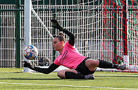 Aalst's goal keeper Silke Baccarne (1) makes a save during the warm up before a female soccer game between Oud Heverlee Leuven and Eendracht Aalst Ladies  on the third matchday of the 2020 - 2021 season of Belgian Womens Super League , Sunday 4 th of October 2020  in Heverlee , Belgium . PHOTO SPORTPIX.BE | SPP | SEVIL OKTEM