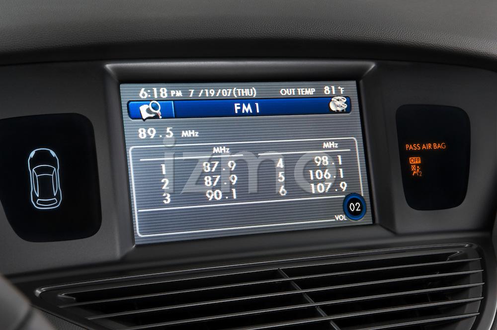 Stereo and navigation screen detail of a 2008 Subaru Tribeca SUV