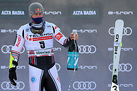 20th December 2020; Alta Badia, South-Tyrol, Italy; International Ski Federation World Cup Alpine Skiing, Giant Slalom;  Alexis Pinturault (FRA) on the winners podium