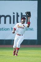 Johnson City Cardinals left fielder Malik Collymore (15) catches a fly ball during the game against the Bristol Pirates at Howard Johnson Field at Cardinal Park on July 6, 2015 in Johnson City, Tennessee.  The Pirates defeated the Cardinals 2-0 in game one of a double-header. (Brian Westerholt/Four Seam Images)