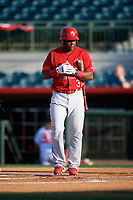 Palm Beach Cardinals Johan Mieses (37) walks to home plate during a game against the Florida Fire Frogs on May 1, 2018 at Osceola County Stadium in Kissimmee, Florida.  Florida defeated Palm Beach 3-2.  (Mike Janes/Four Seam Images)