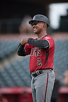 AZL Diamondbacks manager Darrin Garner (2) during the completion of a suspended Arizona League game against the AZL Angels at Tempe Diablo Stadium on July 16, 2018 in Tempe, Arizona. The game was a continuation of the July 11, 2018 contest that was suspended by rain in the middle of the eighth inning. The AZL Diamondbacks defeated the AZL Angels 12-8. (Zachary Lucy/Four Seam Images)