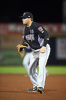 Wisconsin Timber Rattlers first baseman Alan Sharkey (18) during the second game of a doubleheader against the Quad Cities River Bandits on August 19, 2015 at Modern Woodmen Park in Davenport, Iowa.  Quad Cities defeated Wisconsin 8-1.  (Mike Janes/Four Seam Images)