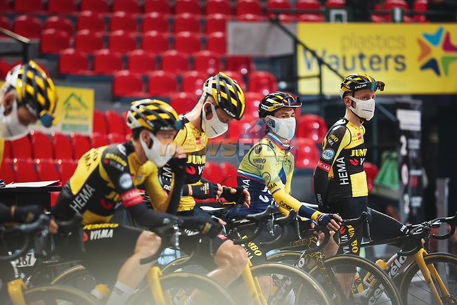 Primoz Roglic (SLO) and Jumbo-Visma at the team presentation before the 2021 Flèche-Wallonne, running 193.6km from Charleroi to Huy, Belgium. 21st April 2021.  <br /> Picture: A.S.O./Aurélien Vialatte | Cyclefile<br /> <br /> All photos usage must carry mandatory copyright credit (© Cyclefile | A.S.O./Aurélien Vialatte)
