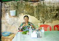 Battambang - Cambodia - June 2020 - Street food beside<br /> WAT DOMREI SOR Pagoda in early morning