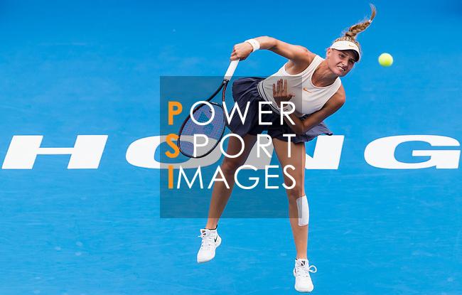 Dayana Yastremska of Ukraine competes against Kristina Kucova of Slovakia during the singles quarter final match at the WTA Prudential Hong Kong Tennis Open 2018 at the Victoria Park Tennis Stadium on 12 October 2018 in Hong Kong, Hong Kong.