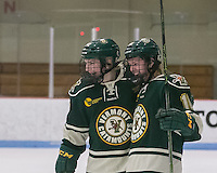 Boston, Massachusetts - February 28, 2016: NCAA Division I, Hockey East quarterfinals (best of three). Boston University (white) defeated University of Vermont (green), 6-1, at Walter Brown Arena and won the series. Goal celebration.