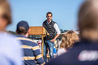 BNPS.co.uk (01202 558833)<br /> Pic: MaxWillcock/BNPS<br /> <br /> Pictured: Sir Ben Ainslie making a speech.<br /> <br /> Britain's most decorated Olympic sailor Sir Ben Ainslie is the guest of honour at a celebration for the 50th anniversary and completion of the £2m redevelopment of Buckler's Hard Yacht Harbour in Beaulieu, Hampshire.