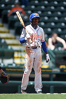 St. Lucie Mets outfielder Champ Stuart (7) at bat during a game against the Bradenton Marauders on April 12, 2015 at McKechnie Field in Bradenton, Florida.  Bradenton defeated St. Lucie 7-5.  (Mike Janes/Four Seam Images)