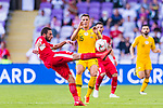 Feras Zeyad Shilbaya of Jordan (L) in action against Chris Ikonomidis of Australia during the AFC Asian Cup UAE 2019 Group B match between Australia (AUS) and Jordan (JOR) at Hazza Bin Zayed Stadium on 06 January 2019 in Al Ain, United Arab Emirates. Photo by Marcio Rodrigo Machado / Power Sport Images