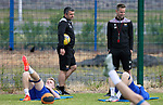 St Johnstone Pre-Season Training...28.06.21<br />Manager Callum Davidson and coach Steven MacLean watch on as Ali McCann and Liam Craig work out during the first day of pre-season training<br />Picture by Graeme Hart.<br />Copyright Perthshire Picture Agency<br />Tel: 01738 623350  Mobile: 07990 594431