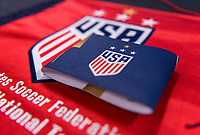 PASADENA, CA - AUGUST 3: The USWNT captain's armband sits in the locker room during a game between Ireland and USWNT at Rose Bowl on August 3, 2019 in Pasadena, California.