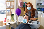 Sarah Curtin, a nurse from UHK getting the hair done by Courtney Griffin at the Paradise Hairsalon who offered to open on Monday to cut the hair for free of the Emergency Department workers from UHK as part of ED Week.