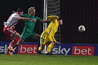 Danny Newton of Stevenage FC scores the second Goal and celebrate during Stevenage vs Concord Rangers , Emirates FA Cup Football at the Lamex Stadium on 7th November 2020