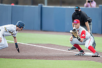 Ohio State Buckeyes first baseman Conner Pohl (39) waits for a throw against the Michigan Wolverines on April 9, 2021 in NCAA baseball action at Ray Fisher Stadium in Ann Arbor, Michigan. Ohio State beat the Wolverines 7-4. (Andrew Woolley/Four Seam Images)