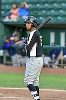 Joel Diaz (5) of the Grand Junction Rockies at bat against the Ogden Raptors in Pioneer League action at Lindquist Field on August 26, 2016 in Ogden, Utah. The Raptors defeated the Rockies 6-5. (Stephen Smith/Four Seam Images)