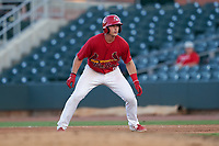 Palm Beach Cardinals Nolan Gorman (18) leads off first base during a Florida State League game against the Clearwater Threshers on August 10, 2019 at Roger Dean Chevrolet Stadium in Jupiter, Florida.  Clearwater defeated Palm Beach 11-4.  (Mike Janes/Four Seam Images)