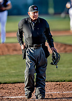 29 May 2021: Umpire Bruce James works the plate during a game between the Norwich Sea Unicorns and the Vermont Lake Monsters at Centennial Field in Burlington, Vermont. The Lake Monsters defeated the Unicorns 6-3 in their FCBL Home Opener, the first home game played at Centennial Field post-Covid-19 pandemic. Mandatory Credit: Ed Wolfstein Photo *** RAW (NEF) Image File Available ***