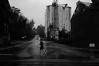 Lynchburg, VA, USA, October 25, 2008.A morning jogger in the pouring rain.