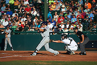 Fort Myers Miracle first baseman Trey Vavra (33) at bat in front of catcher Garrett Boulware and umpire Ben Sontag during a game against the Daytona Tortugas on April 17, 2016 at Jackie Robinson Ballpark in Daytona, Florida.  Fort Myers defeated Daytona 9-0.  (Mike Janes/Four Seam Images)