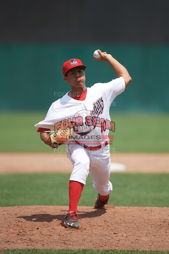 Auburn Doubledays relief pitcher Gilberto Chu (10) delivers a pitch during the first game of a doubleheader against the Mahoning Valley Scrappers on July 2, 2017 at Falcon Park in Auburn, New York.  Mahoning Valley defeated Auburn 3-0.  (Mike Janes/Four Seam Images)