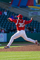 Jose Rada (36) of the Springfield Cardinals delivers a pitch during a game against the Frisco RoughRiders on April 16, 2011 at Hammons Field in Springfield, Missouri.  Photo By David Welker/Four Seam Images
