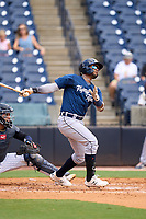 Lakeland Flying Tigers second baseman Alvaro Gonzalez (1) bats during a game against the Tampa Tarpons on July 18, 2021 at George M. Steinbrenner Field in Tampa, Florida.  (Mike Janes/Four Seam Images)