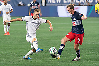 FOXBOROUGH, UNITED STATES - AUGUST 20: Henry Kessler #4 of New England Revolution intercepts the ball near the New England goal during a game between Philadelphia Union and New England Revolution at Gilette on August 20, 2020 in Foxborough, Massachusetts.