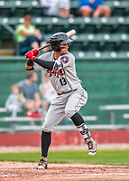 4 September 2017: Tri-City ValleyCats infielder Miguelangel Sierra at bat during the second game of a double-header against the Vermont Lake Monsters at Centennial Field in Burlington, Vermont. The ValleyCats split their games, winning 6-5 in the first, then dropping the second 7-4 to the Lake Monsters in NY Penn League action. Mandatory Credit: Ed Wolfstein Photo *** RAW (NEF) Image File Available ***