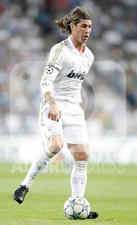 Real Madrid's Sergio Ramos during UEFA Champions League match. September 27, 2011. (ALTERPHOTOS/Alvaro Hernandez)