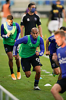 SAN JOSE, CA - SEPTEMBER 16: Judson #93 of the San Jose Earthquakes during warmups before a game between Portland Timbers and San Jose Earthquakes at Earthquakes Stadium on September 16, 2020 in San Jose, California.