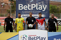 ITAGÜI - COLOMBIA, 17-04-2021: Itagüi Leones F. C. y Fortaleza CEIF durante partido de la fecha 5 de los cuadrangulares semifinales por el Torneo BetPlay DIMAYOR 2021 en el estadio Metropolitano de Itagüi en la ciudad de Itagüi. / Itagüi Leones F. C. and Fortaleza CEIF during a match of the 5th date of the quadrangular semifinals for the BetPlay DIMAYOR 2021 Tournament at the Metropolitano de Itagüi stadium in Itagüi city. / Photo: VizzorImage / Juan A. Cardona / Cont.