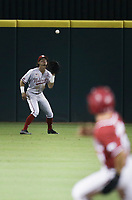 Nebraska Jaxon Hallmark (2) forces an out, Saturday, June 5, 2021 during the seventh inning in the second game of the NCAA Fayetteville Regional at Baum-Walker Stadium in Fayetteville. Check out nwaonline.com/210606Daily/ for today's photo gallery. <br /> (NWA Democrat-Gazette/Charlie Kaijo)