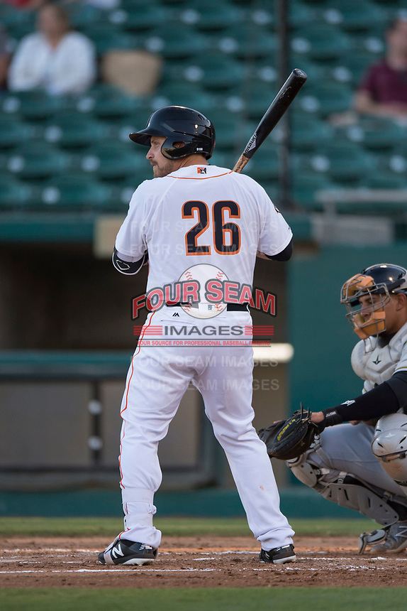 Fresno Grizzlies catcher Tim Federowicz (26) at bat during a Pacific Coast League game against the Salt Lake Bees at Chukchansi Park on May 14, 2018 in Fresno, California. Fresno defeated Salt Lake 4-3. (Zachary Lucy/Four Seam Images)
