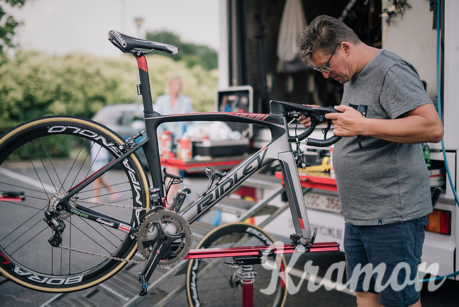 mechanics at work at the team hotel after the stage<br /> <br /> Stage 7: Fougères > Chartres (231km)<br /> <br /> 105th Tour de France 2018<br /> ©kramon