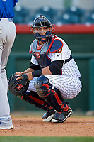 Florida Fire Frogs catcher Alex Jackson (25) looks into the dugout during a game against the Dunedin Blue Jays on April 10, 2017 at Osceola County Stadium in Kissimmee, Florida.  Florida defeated Dunedin 4-0.  (Mike Janes/Four Seam Images)