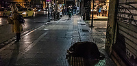 Pictured: A beggar in Patission Street near Omonoia Square.<br /> Re: Street photography, Athens, Greece. Thursday 27 February 2020