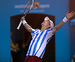 Tomas Berdych ((CZE) defeats David Ferrer (ESP) 6-1, 6-4, 2-6, 6-4 at the Australian Open and moves into the semis in Melbourne Australia on January 21, 2014