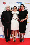 Actor Javier Camara, actress Elena Anaya and Rossi de Palma (R) attends Jose Maria Forque Awards photocall at Municipal Congress Palace in Madrid, Spain. January 13, 2014. (ALTERPHOTOS/Victor Blanco)