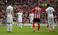 Gylfi Sigurdsson of Swansea City (2nd L) prepares to take a free kick during the Premier League match between Sunderland and Swansea City at the Stadium of Light, Sunderland, England, UK. Saturday 13 May 2017