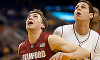 Stanford's Andrew Zimmermann (left) and Arizona State's Taylor Rohde (right) look for the rebound. The Stanford Cardinal, ranked 7th in the Pac-10 defeated the 2nd ranked Arizona State Sun Devils 70-61 during the Pac-10 Tournament at the Staples Center in Los Angeles, California on March 11th, 2010.