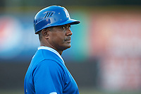 Burlington Royals hitting coach Nelson Liriano (3) coaches third base during the game against the Kingsport Mets at Burlington Athletic Stadium on July 27, 2018 in Burlington, North Carolina. The Mets defeated the Royals 8-0.  (Brian Westerholt/Four Seam Images)