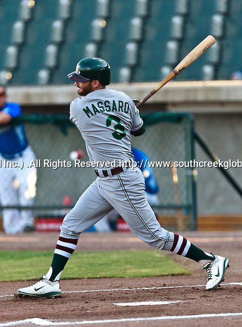 Gary Southshore Railcats Outfielder Mike Massaro (3) in action during the American Association of Independant Professional Baseball game between the Gary Southshore Railcats and the Fort Worth Cats at the historic LaGrave Baseball Field in Fort Worth, Tx. Gary Southshore defeats Fort Worth 7 to 3.