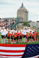 United States (USA) players during the playing of the national anthem. The United States (USA) Women's National Team defeated Canada (CAN) 1-0 during an international friendly at Marina Auto Stadium in Rochester, NY, on July 19, 2009.