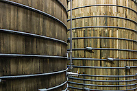 Wood fermentation tanks, Dogfish Head Brewery, Milton, Delaware, USA