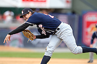 New Hampshire Fisher Cats relief pitcher Evan Crawford #29 delivers a pitch during a game against the Reading Phillies at FirstEnergy Stadium on May 5, 2011 in Reading, Pennsylvania.  New Hampshire defeated Reading by the score of 10-5.  Photo By Mike Janes/Four Seam Images