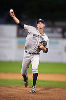 Mahoning Valley Scrappers pitcher James Stokes (32) delivers a pitch during a game against the Batavia Muckdogs on June 23, 2015 at Dwyer Stadium in Batavia, New York.  Mahoning Valley defeated Batavia 11-2.  (Mike Janes/Four Seam Images)