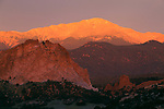 Summer sunrise on Pikes Peak from Cathedral Rock, Garden of the Gods, Colorado Springs, CO